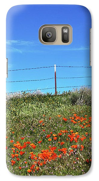 Galaxy Case featuring the mixed media Poppy Hill- Art By Linda Woods by Linda Woods
