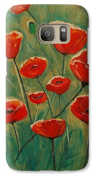 Galaxy Case featuring the painting Poppy Surprise by Leslie Allen