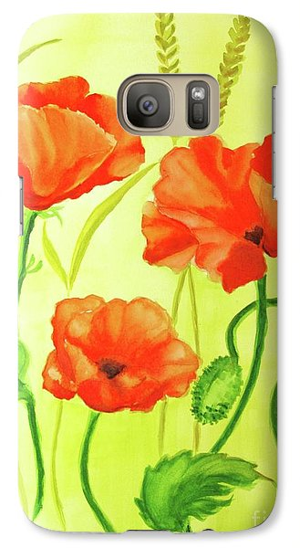 Galaxy Case featuring the painting Poppy Trio by Inese Poga