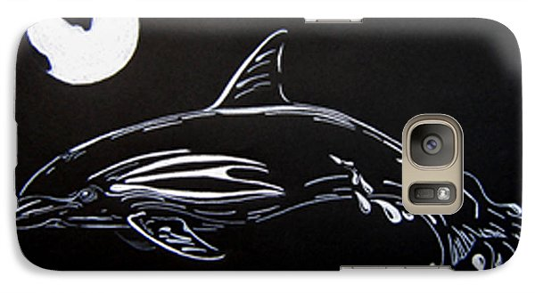 Galaxy Case featuring the drawing Porpoise Sillhouette by Mayhem Mediums