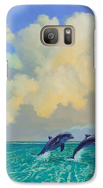 Galaxy Case featuring the painting Porpoiseful Play by David  Van Hulst