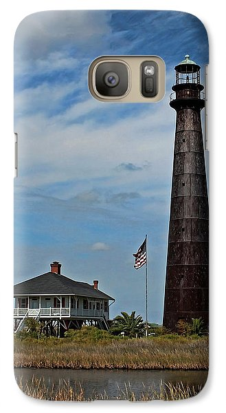Galaxy Case featuring the photograph Port Bolivar Lighthouse by Judy Vincent