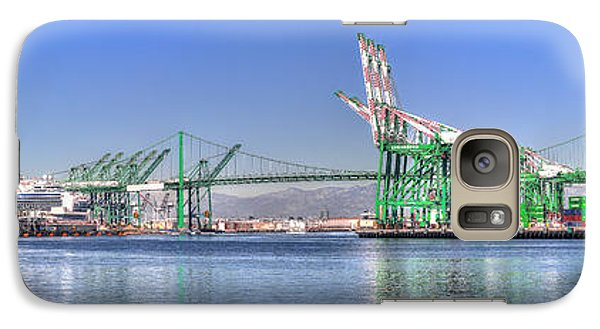 Galaxy Case featuring the photograph Port Of Los Angeles - Panoramic by Jim Carrell