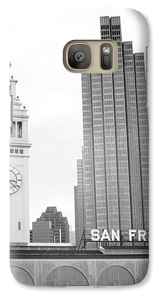 Galaxy Case featuring the mixed media Port Of San Francisco Black And White- Art By Linda Woods by Linda Woods