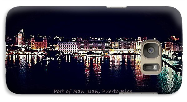 Galaxy Case featuring the photograph Port Of San Juan Night Lights by DigiArt Diaries by Vicky B Fuller