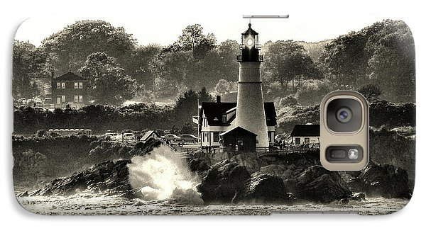 Portland Head Light At Cape Elizabeth In Black And White Galaxy S7 Case