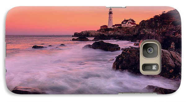 Galaxy Case featuring the photograph Portland Head Light In Pink  by Emmanuel Panagiotakis