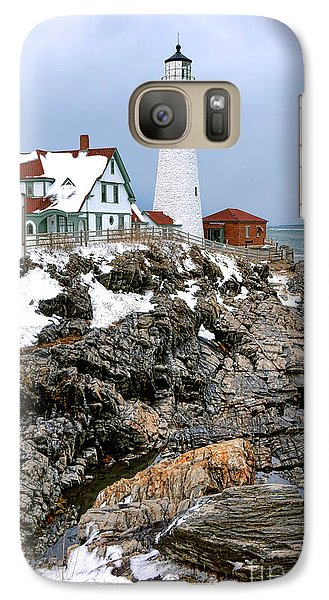 Galaxy Case featuring the photograph Portland Head Light In Winter by Olivier Le Queinec