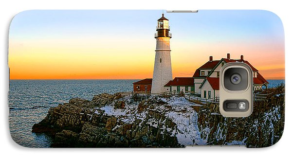 Galaxy Case featuring the photograph Portland Head Light Winter Sunset by Olivier Le Queinec