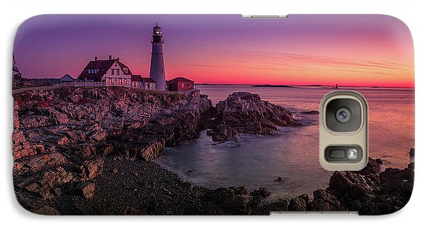 Galaxy Case featuring the photograph Portland Head Lighthouse Sunrise  by Emmanuel Panagiotakis