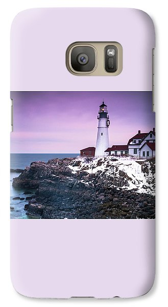 Galaxy Case featuring the photograph Maine Portland Headlight Lighthouse In Winter Snow by Ranjay Mitra