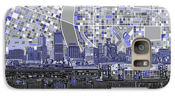 Galaxy Case featuring the digital art Portland Skyline Abstract Nb by Bekim Art