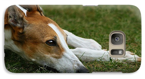 Galaxy Case featuring the photograph Portrait Of A Greyhound - Soulful by Angela Rath