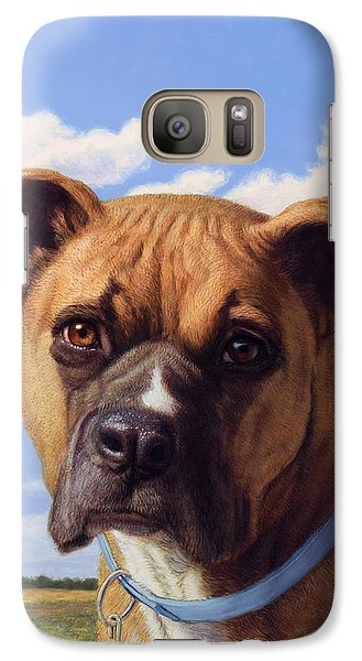 Galaxy Case featuring the painting Portrait Of A Sweet Boxer by James W Johnson