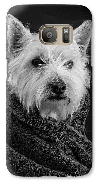 Portrait Of A Westie Dog Galaxy Case by Edward Fielding