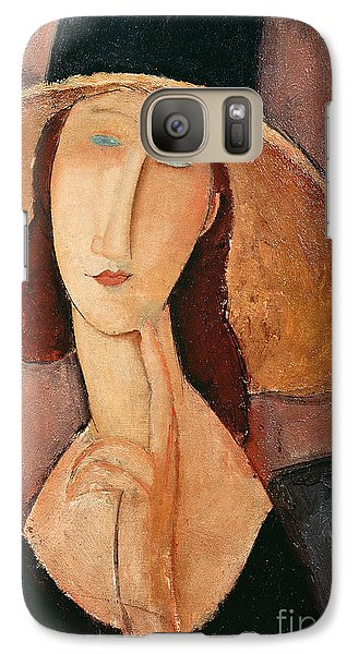 Portraits Galaxy S7 Case - Portrait Of Jeanne Hebuterne In A Large Hat by Amedeo Modigliani