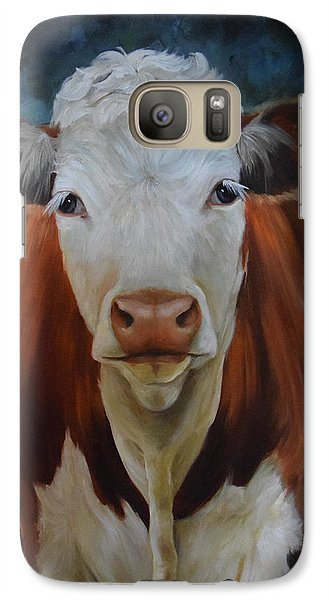 Galaxy Case featuring the painting Portrait Of Sally The Cow by Cheri Wollenberg