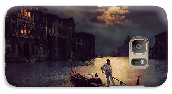 Galaxy Case featuring the painting Postcards From Venice - The Red Gondola by Douglas MooreZart