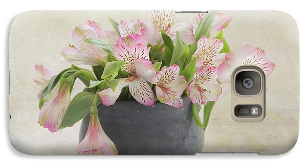 Galaxy Case featuring the photograph Pot Of Pink Alstroemeria by Kim Hojnacki