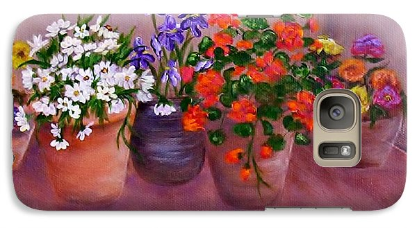 Galaxy Case featuring the painting Pots Of Flowers by Jamie Frier