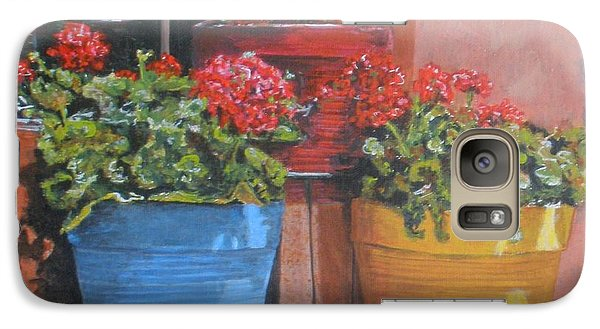 Galaxy Case featuring the painting Pots Of Geraniums by Betty-Anne McDonald