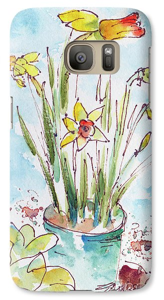 Galaxy Case featuring the painting Potted Daffodils by Pat Katz