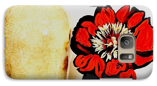 Galaxy Case featuring the painting Pottery Peony Roses by Marsha Heiken