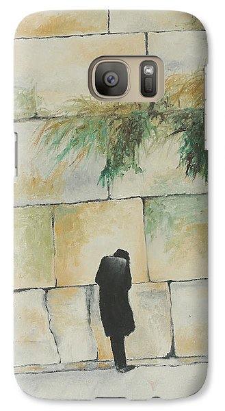 Galaxy Case featuring the painting Praying At The Western Wall by Miriam Leah