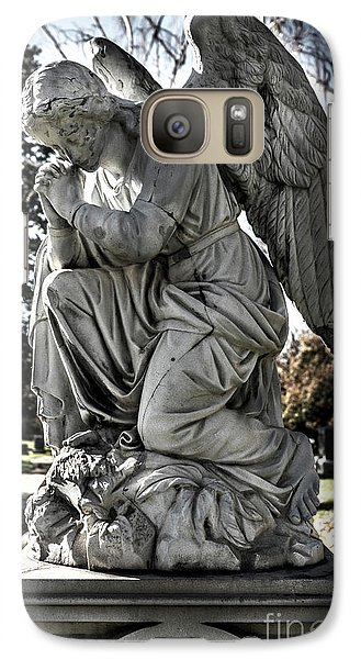 Galaxy Case featuring the photograph Praying Cemetery Angel  by Gary Whitton