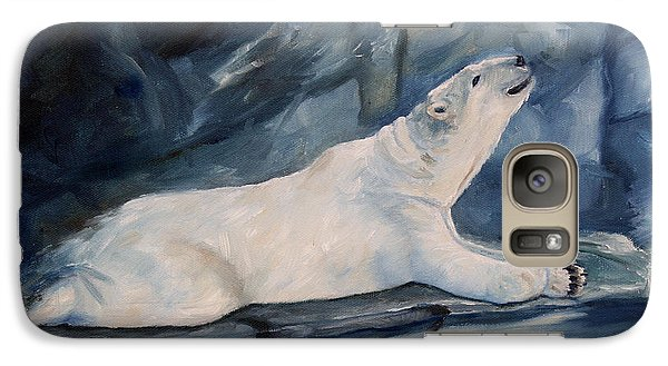 Galaxy Case featuring the painting Praying Polar Bear Original Oil Painting by Brenda Thour
