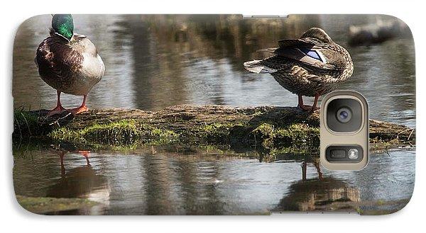 Galaxy Case featuring the photograph Preening Ducks by David Bearden