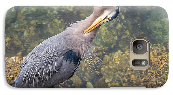 Galaxy Case featuring the photograph Preening Heron by Jerry Cahill