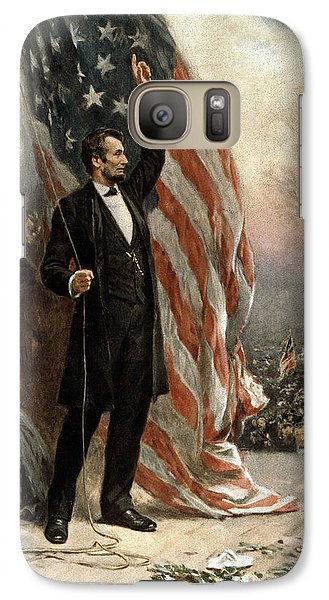 Galaxy Case featuring the photograph President Abraham Lincoln - American Flag by International  Images