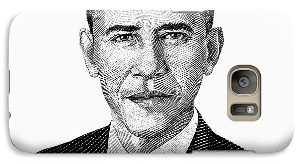 President Barack Obama Graphic Black And White Galaxy S7 Case by War Is Hell Store