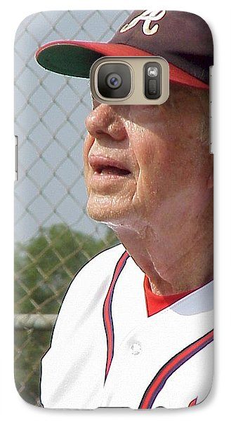 Galaxy Case featuring the photograph President Jimmy Carter - Atlanta Braves Jersey And Cap by Jerry Battle