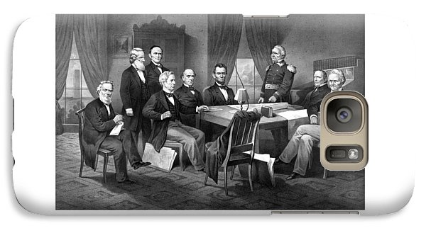 President Lincoln His Cabinet And General Scott Galaxy S7 Case by War Is Hell Store