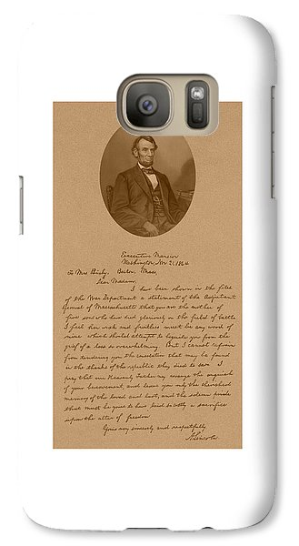 President Lincoln's Letter To Mrs. Bixby Galaxy S7 Case by War Is Hell Store