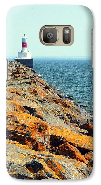 Galaxy Case featuring the photograph Presque Isle Lighthouse In Marquette Mi by Mark J Seefeldt