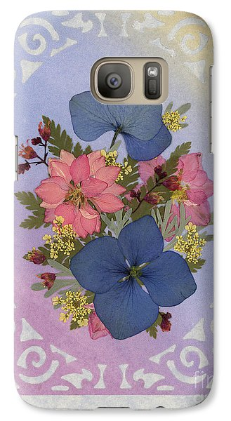 Pressed Flowers Arrangement With Pink Larkspur And Hydrangea Galaxy S7 Case