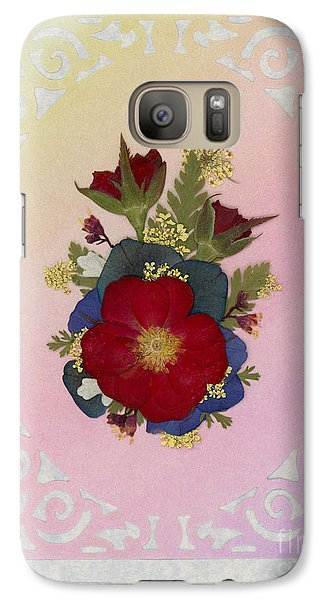 Pressed Flowers Arrangement With Red Roses Galaxy S7 Case
