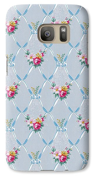 Galaxy Case featuring the digital art Pretty Blue Ribbons Rose Floral Vintage Wallpaper by Tracie Kaska