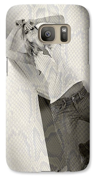 Galaxy Case featuring the photograph Pretty Girl On Her Knees by Michael Edwards