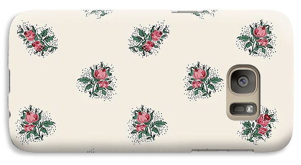 Galaxy Case featuring the digital art Pretty Pink Roses Girly Vintage Wallpaper Pattern by Tracie Kaska