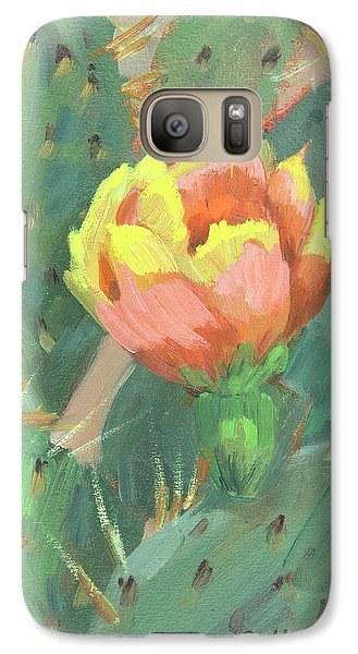 Galaxy Case featuring the painting Prickly Pear Cactus Bloom by Diane McClary