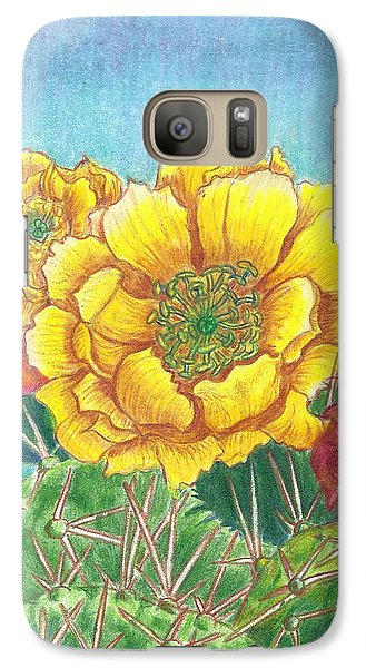 Galaxy Case featuring the drawing Prickly Pear Cactus Flowering by Dawn Senior-Trask