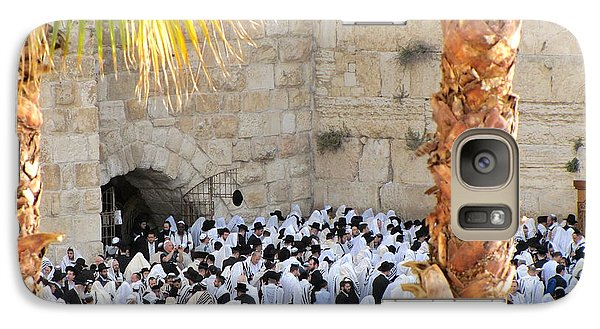 Galaxy Case featuring the photograph Prayer Of Shaharit At The Kotel During Sukkot Festival by Yoel Koskas
