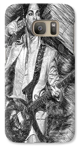 Prince - Tribute With Guitar In Black And White Galaxy S7 Case