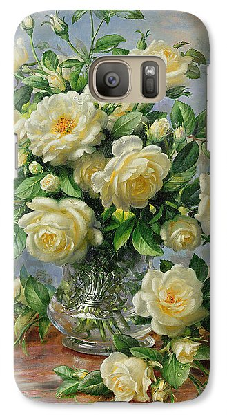 Rose Galaxy S7 Case - Princess Diana Roses In A Cut Glass Vase by Albert Williams