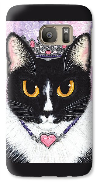 Galaxy Case featuring the painting Princess Fiona -tuxedo Cat by Carrie Hawks