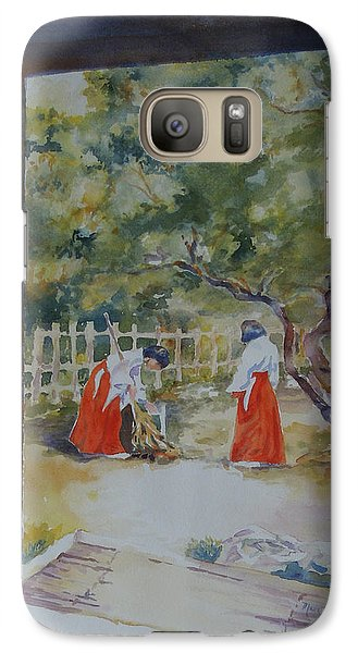 Galaxy Case featuring the painting Pristine Morning by Mary Haley-Rocks